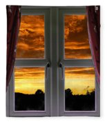Window With Fiery Sky Fleece Blanket