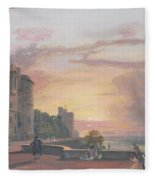 Windsor Castle North Terrace Looking West At Sunse Fleece Blanket