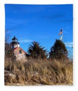 Windy Day At East Point  Fleece Blanket