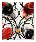 Wine Bottles In Curved Wine Rack Fleece Blanket