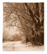 Winter Country Road Fleece Blanket