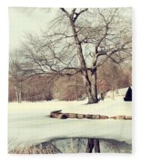 Winter Day In The Park Fleece Blanket