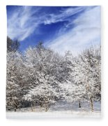Winter Forest Covered With Snow Fleece Blanket