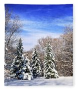 Winter Forest With Snow Fleece Blanket