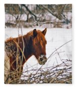 Winter Horse Landscape Fleece Blanket