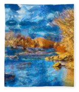 Winter In Salida -- Renoir Fleece Blanket