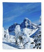 Winter In The Tetons Fleece Blanket