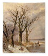 Winter Landscape With Faggot Gatherers Conversing On A Frozen Lake Fleece Blanket