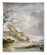 Winter Landscape With Men Snowballing An Old Woman Fleece Blanket