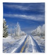 Winter Rural Road Fleece Blanket