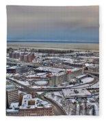 Winter Scene Land And Water Fleece Blanket