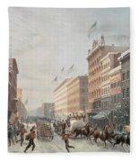 Winter Scene On Broadway Fleece Blanket