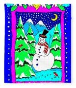Winter Snowman Fleece Blanket