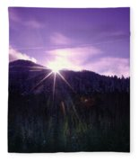Winter Sun Winking Over The Mountains Fleece Blanket
