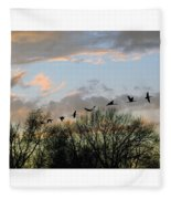 Winter Sunset  Silhouette Fleece Blanket