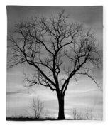 Winter Tree Silhouette Fleece Blanket