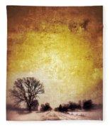 Wintery Road Sunrise Fleece Blanket