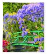 Wisteria And Japanese Bridge Fleece Blanket
