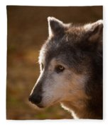 Wolf Outlined By The Sun Fleece Blanket