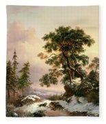 Wolves In A Winter Landscape Fleece Blanket