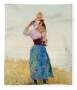 Woman And Child In A Meadow Fleece Blanket