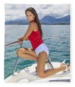 Woman Boating At Kaneohe Fleece Blanket