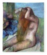 Woman Doing Her Hair Fleece Blanket