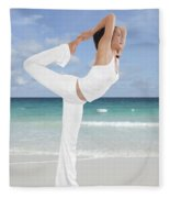 Woman Doing Yoga On The Beach Fleece Blanket