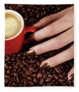 Woman Hand Holding A Cup Of Latte Fleece Blanket