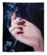 Woman Hand In A Stream Of Smoke Fleece Blanket