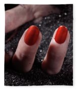 Woman Hand With Red Nail Polish Buried In Black Sand Fleece Blanket