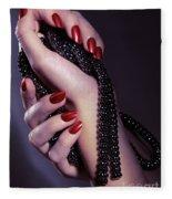 Woman Hands Holding Jewelry Fleece Blanket