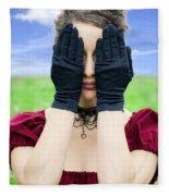 Woman Hiding Fleece Blanket
