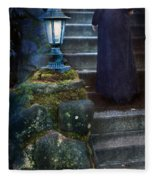 Woman In Dark Gown On Old Staircase Fleece Blanket
