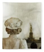 Woman In Hat Viewing The Statue Of Liberty  Fleece Blanket