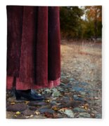 Woman In Vintage Clothing On Cobbled Street Fleece Blanket