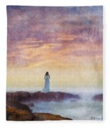 Woman In Vintage Dress At The Rocky Shore At Dawn Fleece Blanket
