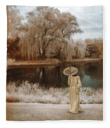 Woman In Vintage Dress With Parason By Lake Fleece Blanket
