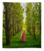 Woman In Vintage Pink Dress Walking Through Woods Fleece Blanket