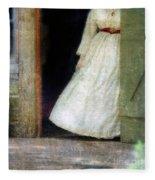 Woman In Vintage Victorian Era Dress In Doorway Fleece Blanket
