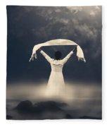 Woman In Water Fleece Blanket