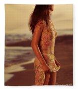 Woman In Wet Dress At The Beach Fleece Blanket