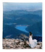 Woman In White Gown On Mountain Top Fleece Blanket