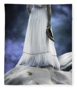 Woman On Rocks Fleece Blanket