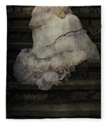 Woman On Steps Fleece Blanket
