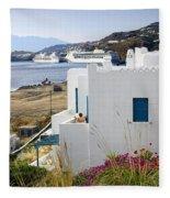 Woman On The Terrace - Mykonos Fleece Blanket