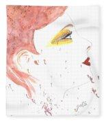 Woman Smile Watercolor Painting Fleece Blanket