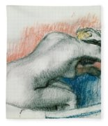 Woman Washing In The Bath Fleece Blanket