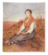 Woman With A Bundle Of Firewood Fleece Blanket
