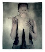 Woman With Doll Fleece Blanket